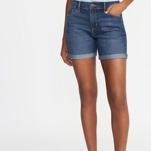 Old Navy Mid Rose Slim Fit Dark Wash Denim Shorts